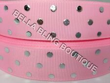 "1 METRE GIRL PINK POLKA DOT GROSGRAIN RIBBON 22MM 7/8"" HAIR BOW CAKE CARD"