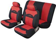 FUJI UNIVERSAL FULL SET SEAT PROTECTOR COVERS RED & BLACK SMOOTH PADDED FABRIC