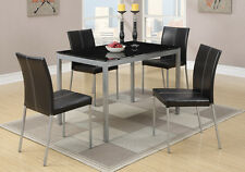 5 PC Black Glass Dining Table Silver Legs & 4 Faux Leather Upholstered Chairs