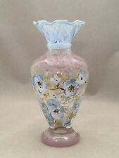TRACY PORTER Glass Vase Hand Painted Evelyn Blue Floral w/Ruffled Rim EUC!