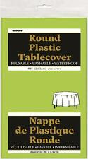 "ROUND PLASTIC TABLECLOTH (84"" DIAMETER) - BULK BUY DISCOUNTS, 22 COLOURS"