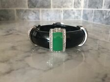 SCAASI Green & Coral W Silver Toned Crystal Accents Bangle Bracelet NEW