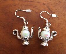 925 Sterling plata aretes ohrhänger Alice tetera de perlas Handemade