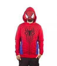 Mens Official Marvel Spider-Man Hoodie With Mesh Mask Size Medium