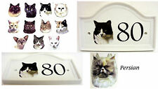 Persian Cat House Door Number Plaque Ceramic Persian Cat Door Sign Any Number