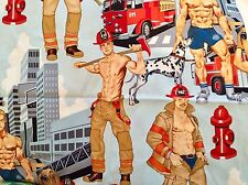 CLEARANCE FQ PIN UP BOYS FIREFIGHTERS FIREMAN FABRIC DALMATION FIRE ENGINE