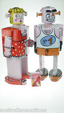 2 x FRENCH TIN TOYS  LITHOGRAPHED ROBOTS  'BELLA & BOBOS THE BOXER 30cm FRENCH