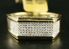 10K Mens 9 mm Yellow Gold Wedding Band Diamond Ring .60 Ct