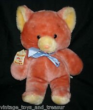 "14"" VINTAGE ANIMAL FAIR PINK PEACH MOUSE CAT STUFFED PLUSH TOY HENRY'S FRIEND"