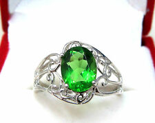 #R1516 2.8ct Forest Green Helenite Oval Filigree Solid 925 Sterling Silver Ring