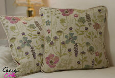 "Shabby Chic Cushion Cover Meadow Tapestry Floral Ticking 16"" Piped pink aqua"