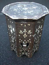 Antique Islamic Moorish lamp table, profusely inlaid with Mother of Pearl