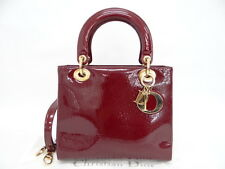 Auth Christian Dior Lady Hand Bag Cannage Patent Leather Red 23130222700 R12GX