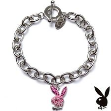 Playboy Bracelet Bunny Charm Pink Enamel Crystals GRADUATION MOTHER'S DAY GIFT