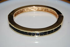 KENNETH COLE GOLD TONED METAL STATEMENT BRACELET WITH BLACK SQUARE RHINESTONES