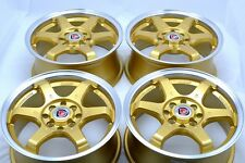 15 Drift gold wheels rims Yaris Spark Aveo Cobalt Tiburon Civic iQ 4x100 4x114.3