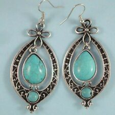 Large Turquoise Silver Teardrop Southwest Style Scrollwork Earrings on Wires USA