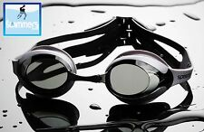 SPEEDO MERIT SILVER SMOKE TINTED SWIMMING GOGGLES ANTIFOG COMPETITION RACING