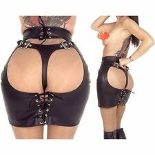 Women Sexy Fashion Goth Club Wear Faux Leather BDSM Open Back Skirt Black Skirts