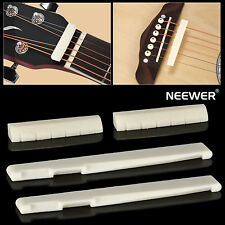 Neewer 2 Sets of 6PCS String Acoustic Guitar Bone Bridge Saddle and Nut