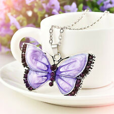 Fashion Women Enamel Butterfly Crystal Silver Pendant Necklace Chain Jewelry YK