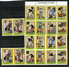 MANAMA 1972 JAPANESE PAINTINGS OF ELSEN 2 SETS OF 10 STAMPS PERF.& IMPERF. MNH