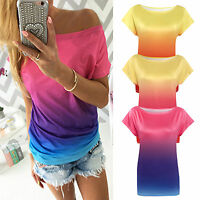 Womens Gradient Casual Short Sleeve T-shirt Ladies Summer Boat Neck Tops Blouse