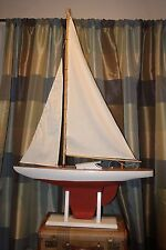LARGE VIntage Pond Boat ANTIQUE Sail Boat TOY wood and metal. YACHT