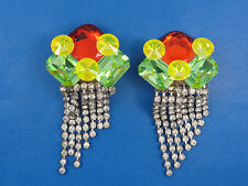 RARE 80s RUNWAY VOGUE STYLE WENDY GELL CHUNKY WATERFALL FACETED CRYSTAL EARRINGS
