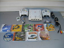 SEGA DREAMCAST BUNDLE LOT CONSOLE CONTROLLERS 9 GAMES MEMORY CARD CABLES TESTED