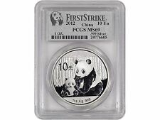 2012 China 1oz Silver Panda - PCGS FIRST STRIKE MS69, .999 Fine Silver