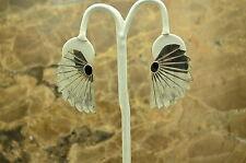 STERLING SILVER ONYX CENTER SOUTHWESTERN FAN DESIGN POST EARRINGS #X-10469