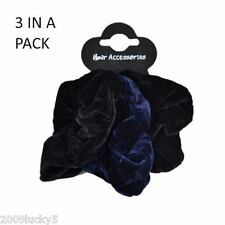 3 Pack Set Soft Velvet Hair Scrunchies Ponio Elastic Band Tie Black Navy Blue cm