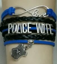 POLICE WIFE CUSTOM LEATHER BRACELET - LAW ENFORCEMENT - MOM - SISTER - FAMILY-#9