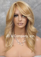 Feather Side Human Hair Blend Back Straight Wig w. Bangs Blonde mix yna 24-613