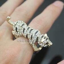 Bling Gold Jaguar Cheetah Leopard Panther Cat Animal CZ Iced Out Ring H6