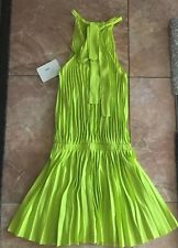 NWT Alexis $474 Pleated Sleeveless Dress S Small Lime Green