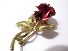 BRUSHED RED METAL SINGLE ROSE PIN BRIGHT GOLD TONE METAL BROOCH SIGNED VINTAG