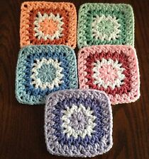 """20 5"""" PASTEL Hand Crocheted GRANNY SQUARES Blocks AFGHAN THROW"""