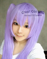 Lucky Star Long Fashion Purple Straight Cosplay Wig WIth Two Clip Ponytails NO55