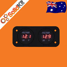 Dual Battery Monitor Digital Volt Meter LED 12v 24v DC Boat Marine AGM