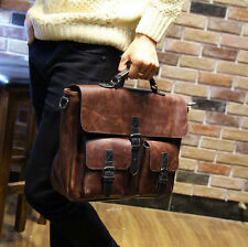 Mens Vintage Brown Leather shoulder bag Briefcase Messenger bag Laptop Tote Bags