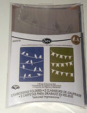 Sizzix textured impressions embossing Birds & banner set 2 pk