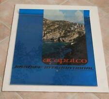 VINTAGE FOIL BRANIFF INTERNATIONAL AIRLINES ACAPULCO MEXICO TRAVEL POSTER 1960s!