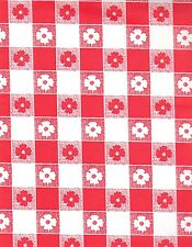 "Red and White Gingham table cover tablecloth plastic 84"" round (2 pieces)"