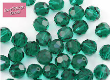 2x Swarovski Crystal 5000 Emerald 12mm Round Green Vintage Beads - Original Box