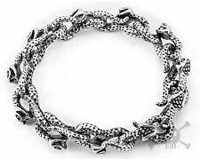 "Rocker Biker Gothic Punk Monster Snack Silver Stainless Steel Bracelet Link 8.5"""