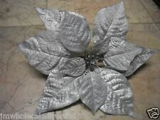 NEW Holiday ! Christmas Decoration Silver Sparkly Leave Ornament