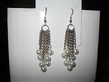 Homemade Chain & Bead Dangle Earrings Handmade New!!!