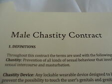 Male Chastity Contract Agreement - For Mistress and Slave UK Seller & Stock
